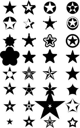 estrellas: Resumen de vectores de estrellas negro  Vectores