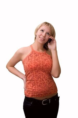 Atractive girl talking on the cell phone Stock Photo - 3397748