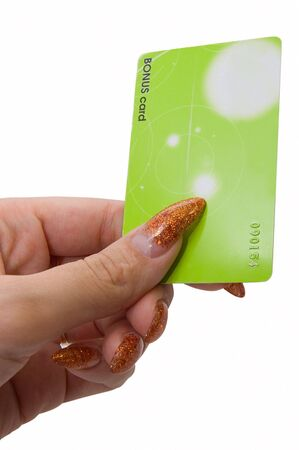 Female hand hold bonus card on white Stock Photo - 3439650