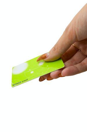 Female hand hold bonus card on white photo