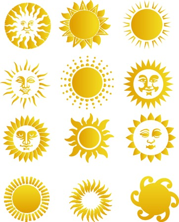 2D Abstract vector illustration. Suns