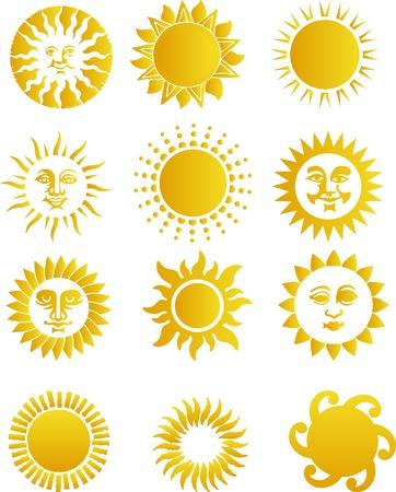 rooster at dawn: In 2D Riassunto illustrazione vettoriale. Suns Vettoriali
