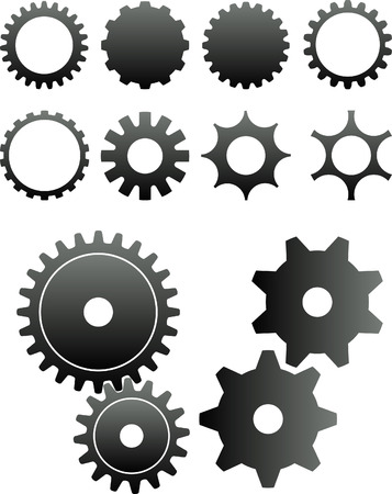 a set of wheels: 2D abstract art vector illustration. Gears