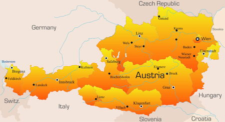 Abstract vector color map of Austria country Stock Vector - 3462313