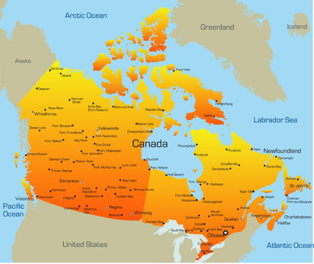 Abstract vector color map of Canada pays Vecteurs