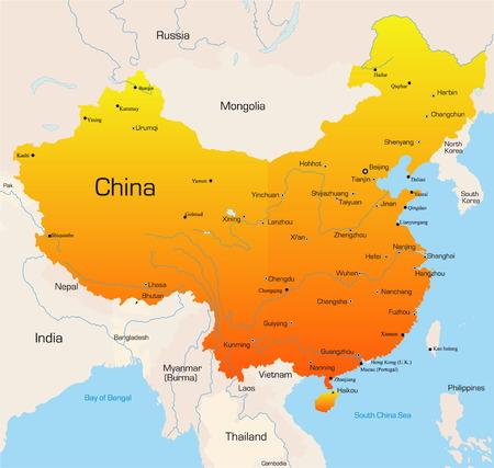 Résumé des vecteurs de couleur carte de la Chine pays Vecteurs
