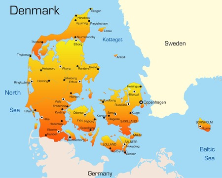 Abstract vector color map of Denmark country  Illustration