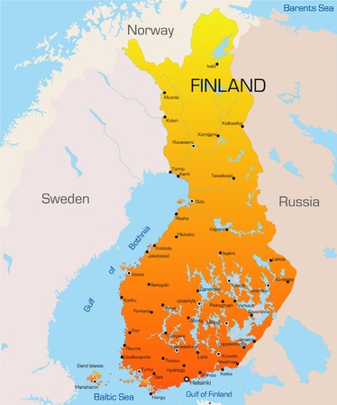 Resumen de vectores mapa de color de Finlandia, país  Ilustración de vector