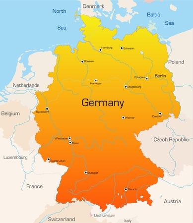 deutschland karte: Abstract Vektor Farbe Karte von Deutschland Land