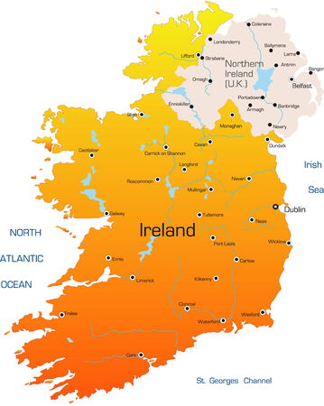 european maps: Abstract vector color map of Ireland country  Illustration