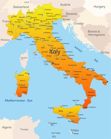 イタリア国の抽象的なベクトル カラー マップ