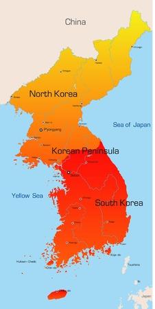 Abstract vector color map of Korea countries  Vector