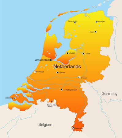 niederlande: Abstract Vector Farbe Karte der Niederlande Land Illustration