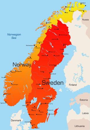 Resumen de vectores mapa de color de Noruega y Suecia, país