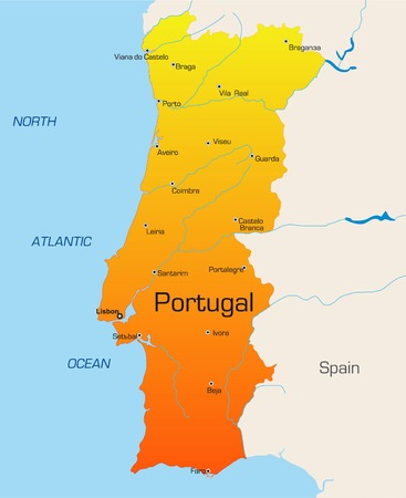 Abstract vector color map of Portugal country