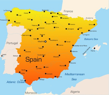 spain map: Abstract vector color map of Spain country
