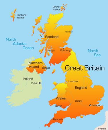 brytanii: Streszczenie vector kolor mapę Wielkiej Brytanii kraju Ilustracja