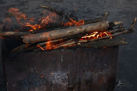 brazier: Brazier for barbecue. Ember in flames.  Stock Photo