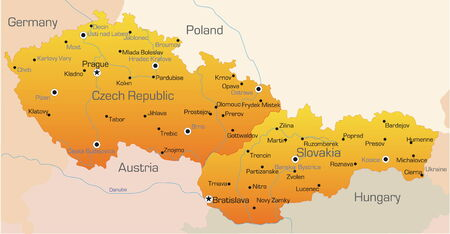 slovakia: Abstract vector color map of Czech Republic and Slovakia country