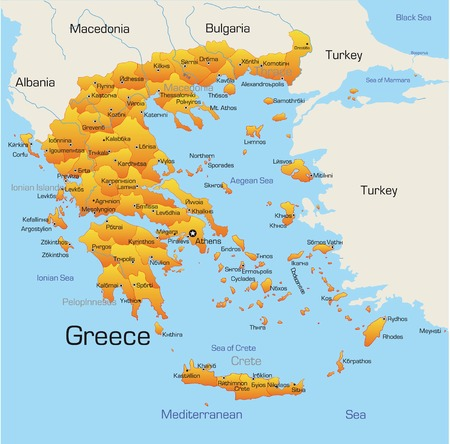 Abstract vector color map of Greece country  Vector