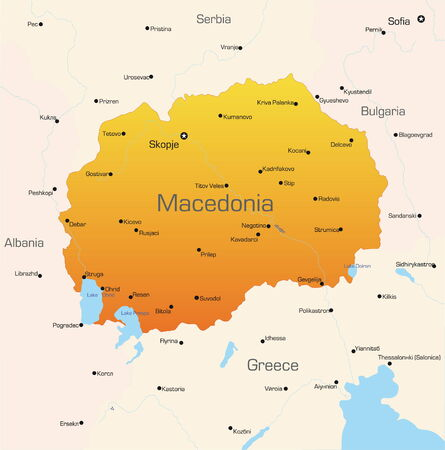 macedonia: Abstract vector color map of Macedonia country