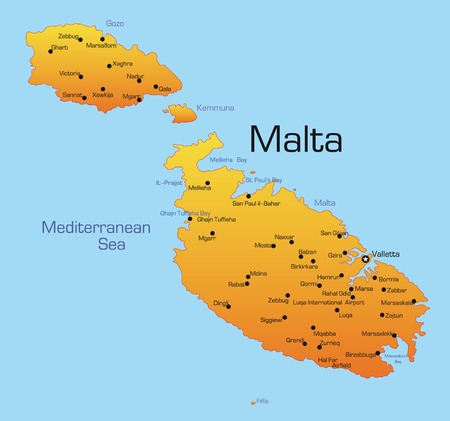 Abstract vector color map of Malta country