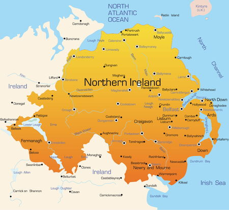 Abstract vector color map of Northern Ireland country Stock Vector - 3479351