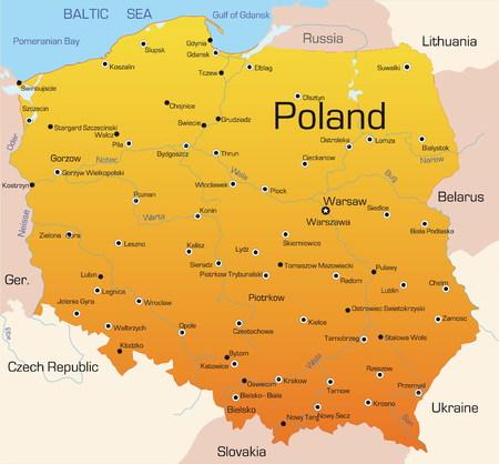 Abstract vector kleur kaart van Polen land