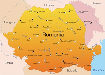 romania: Abstract vector color map of Romania country