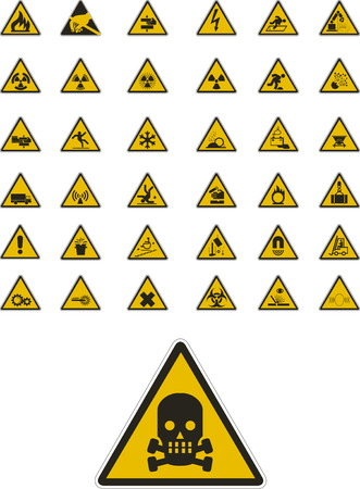 Abstract vector warning and safety signs Illustration