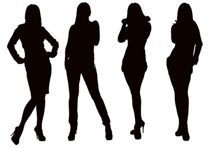 Silhouette of a young posing woman photo