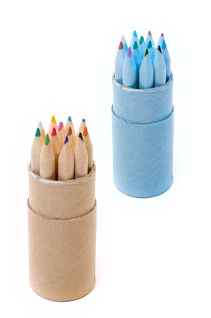 Rows of varicoloured wooden pencils photo