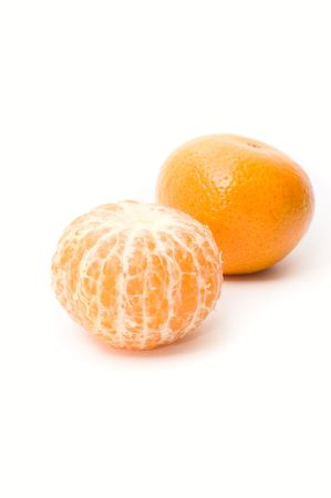 A mandarin fruit on white background photo