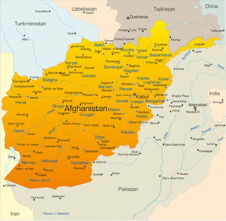 time zone: Vector map of Afghanistan country