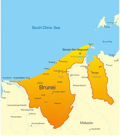 brunei: Vector map of Brunei country