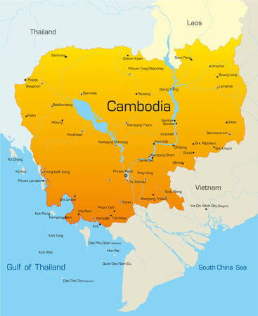 vietnam: Vector map of Cambodia country Illustration