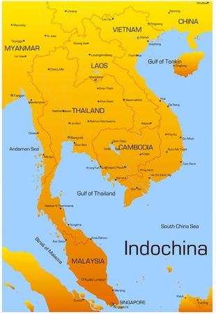 oceans: Vector map of Indochina countries