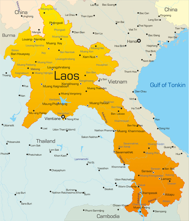 Vector map of Laos country Vector