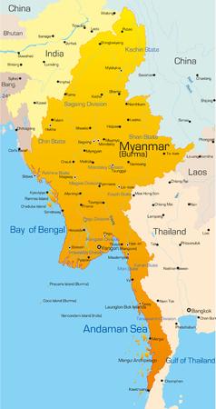 birma: Vector kaart van Myanmar land