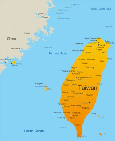 vector maps: Vector map of Taiwan country