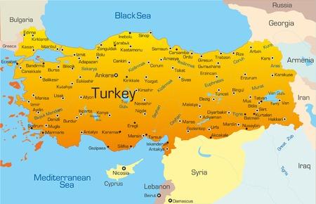 Mapa vectorial de Turquía, país