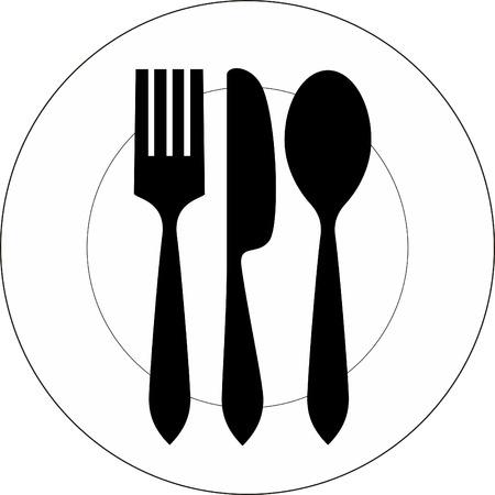 Icono de la ilustración vectorial de la placa con un tenedor, cuchara y cuchillo en la parte superior de la misma Ilustración de vector