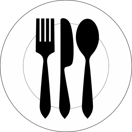 dinning table: Vector icon illustration of plate with fork, knife and spoon on top of it