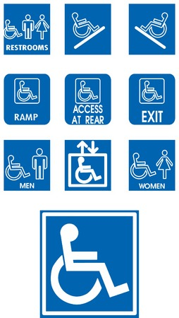 Vector blue signs - invalid - on white Vector