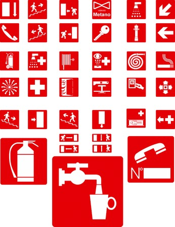 Red vector signs on white background Vector