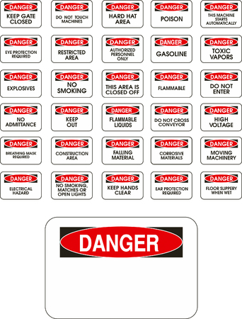 Red vector danger signs on white background Vector