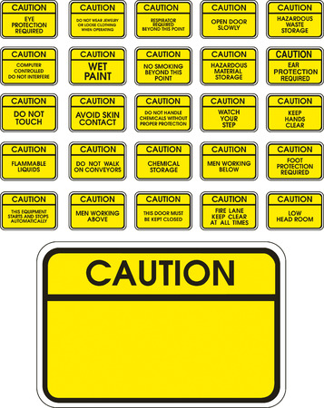 restricted: Yellow vector caution signs on white background