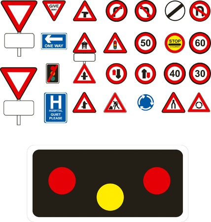 Vector traffic signs on white background Stock Vector - 3524620
