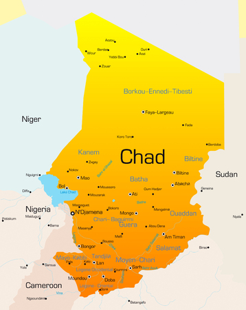 Abstract vector color map of Chad country Vector