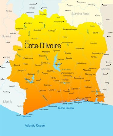 Abstract vector color map of Cote dIvoire country Vector